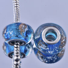 5pcs silver plated lampwork murano glass beads for european Charm bracelet
