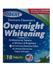 New ! IODENT DENTURE CLEANSERS OVERNIGHT WHITENING COMPARE TO POLIDENT