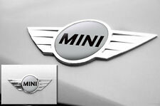 "Mini Cooper 1.75"" Inch Logo Emblems Decals x2 Vinyl Stickers for Badges SILVER"