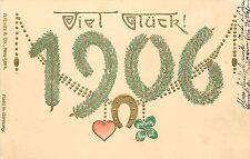 Embossed Chromolithograph Postcard; German New Year Date 1906, Viel Glück!