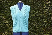 New Hand Knitted sleeveless blue/turquoise blackberry stitch waistcoat 12 to 16