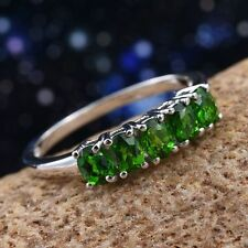 "Russian Diopside 925 Sterling Silver ""Half Eternity"" Band Ring."