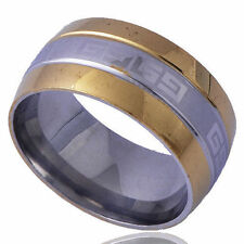 B1374 Tibet style Men's Band Ring White Yellow Gold Filled Size 9#