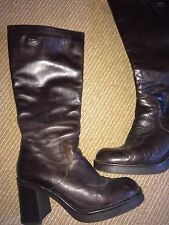 Kickers Brown Knee high Boots Size 6 39 Womens Ladies Heel Winter