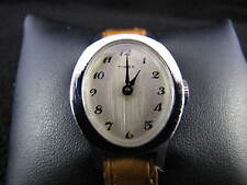 Vintage TIMEX Womens Silver Face Mechanical WIND UP & NEW LEATHER BAND Watch