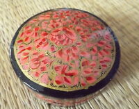 Hand painted kashmir papier mache round shaped pink gold floral trinket box
