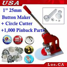 1Inch Badge Button Maker Machine+1,000Set Pin Back Supplies+ Circle Cutter015086