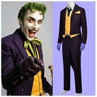 Halloween Batman Arkham City Joker Cosplay Costume Classic Party Suit