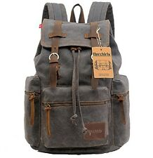Berchirly Vintage Men Casual Canvas Leather Backpack Rucksack Bookbag Satchel