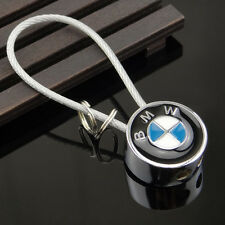 Car Logo Keychain Key Ring Metal Double Sided Steel Wire Rope For BMW