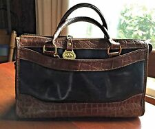 BRAHMIN Vintage Brown Croc Embossed & Black Leather Handbag