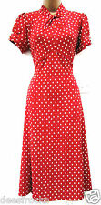 NEXT SIZE 20 40'S WW2 LANDGIRL LINDYHOP STYLE TEA DRESS POLKA DOT # US 16 EU 48