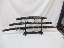 """3 Pc Black Yin Yang 40"""" Samurai Sword Set Katana Wakizashi Tanto Blade w/ Stand"""