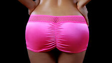 Honeycomb Scrunch Back Mini Skirt. Neon Pink. Made in the USA. O/S. BZ-1719ME.