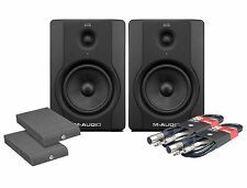 M Audio BX5 D2 Studio Monitor 70W Pair, Isolation Pads & Cables Package Bundle