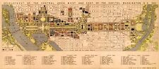 "HUGE Downtown WASHINGTON DC Capital City MAP 1941 Vintage Reprint Poster 24""x55"""