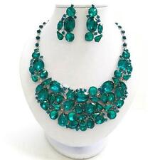 Chunky Blue Crystal Silver Chain Necklace Earring Set Fashion Costume Jewelry