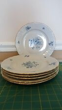 "6 Winterling Blue Rose Baveria China Germany 10"" dinner plates - gold trim"