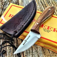 RED DEER Drop Point Blade Patch Knife Burl-wood Handle W/ Leather Sheath  new!
