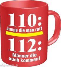 Kaffeebecher, Kaffeetasse, Kaffeepot, Feuerwehr 110, RAHMENLOS® Art. 2549