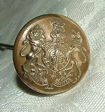 """Antique FIRMIN HATPIN Hat Pin 10"""" long Brass Button British Royal Coat of Arms"""