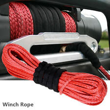 "1/4""X50' Durable Dyneema Synthetic Red Car Truck Winch Rope Cable Self-Help Tool"