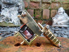 HANDBUILT OLD SCHOOL BRASS TATTOO MACHINE SHERMAN FRAME DAY OF DEAD DESIGN COILS