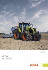 CLAAS Axion 850 01 / 2014 catalogue prospectus brochure tracteur tractor