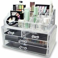 Clear 4 Drawer Jewelry Holder Makeup Case Cosmetic Organizer Storage Box Acrylic