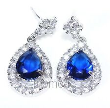 Dangle cocktail pear blue sapphire cz studs crystal ear ring-white gold pt drop