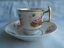 Antique Charles Bourne English Porcelain Cup & Saucer Pattern 150 Flowers C1820