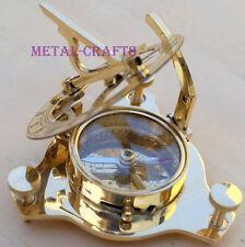 Antique Brass Sundial Compass Vintage Nautical Old Compass Greek Brass Kompass