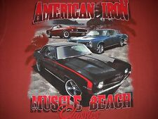 """AMERICAN IRON"" Muscle Car T-Shirt Large NEW w/Tags - 1969 Camaro, 1969 Mustang"