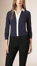 NWT $650 BURBERRY LONDON Womens  Blue Color Block Silk Shirt Top Blouse  4