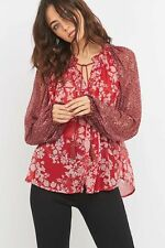 NWT $108 Free people 'Hendrix' Printed Peasant Blouse in Red ~ Oversized SMALL