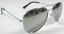 KIDS SIZE Children Boys Girls Silver Aviator Sunglasses Glasses Mirrored Lenses