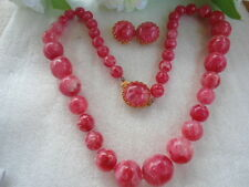 US Vintage Pink Round Plastic Beads Necklace Earring Jewelry Set