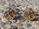 Watch Movement Cufflinks -- Steampunk Gears Machine Industrial Oval Gold