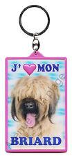 """Porte clé 3D """"J'aime mon Briard"""" chien idée cadeau pas cher NEUF"""
