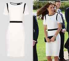 JAEGER Ivory Crepe Dress with Navy Trim Size UK 10 US 6 BNWT