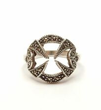 Vintage 925 Sterling Silver MARCASITE SET ART DECO STYLE COCKTAIL RING 3.8g UK Q
