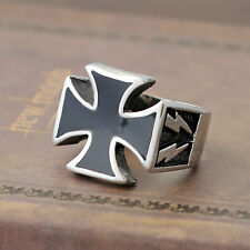 Men's Maltese Cross Ring Knights Templar Iron Band Stainless Steel Silver Gold