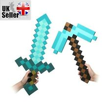 Minecraft Large Blue Diamond Sword Pickaxe EVA Weapons Plush Doll soft toys