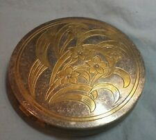 VTG MAKE UP COMPACT GOLD TONE METAL BRASS? FLORAL ZELL FIFTH AVENUE NO MIRROR