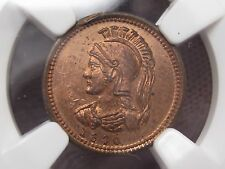 Rare Quebec Token; 1870 (dated) ANTICOSTI ISLAND - CANADA. 1/8p. NGC MS63 RB. #2