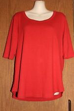 Amber Sun Woman 100% Cotton Red Crew Neck Short Sleeve Tee Shirt XL