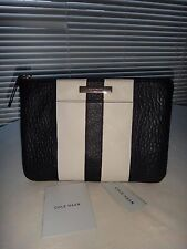 COLE HAAN~Women's BLACK & WHITE LEATHER LARGE POUCH CLUTCH~WALLET~COSMETIC BAG