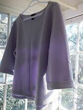 H&M Trendy Pale Lavender Boxy Ribbed Top Size M *3/4 Sleeves *NOT A SWEATSHIRT