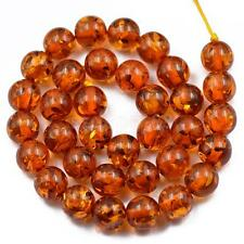 12mm Brown Amber Spacer Ball Loose Beads Jewelry Making Findings 15.5""