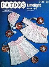 Vintage Baby Crochet Pattern Dress, Jacket and Bonnet in 3 Ply FREE Post